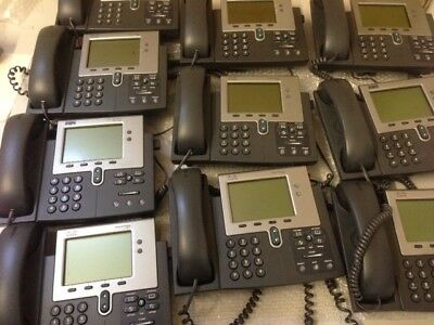 Lot of 10 Cisco 7941 CP-7941G IP Phones with Stands and Handsets