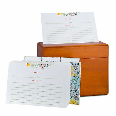 Recipe Box with 100 4x6 Floral Recipe Cards and Dividers. Classic Style Maple