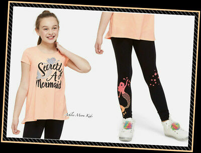 NWT JUSTICE Girls 8 10 Bright Coral Sparkle Mermaid Swingy Tee & Leggings Set