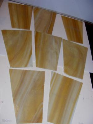 9 Lot Stained Glass Panels Vintage Deco light brown slag glass for crafts repair