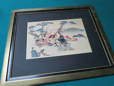 "Woodblock Print Japanese 'Family Meeting"" No Glass"