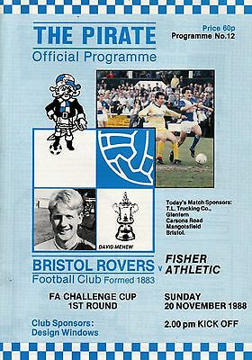 1988/89 Bristol Rovers v Fisher Athletic, FA Cup. PERFECT CONDITION