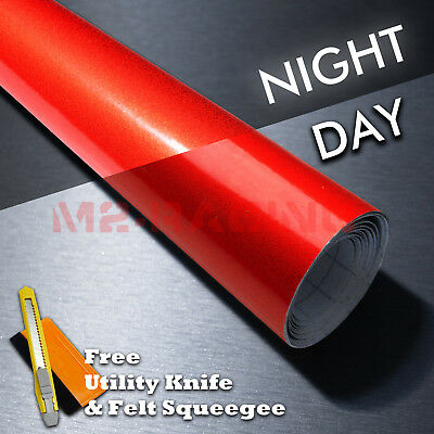 "*48""x96"" Reflective Red Vinyl Wrap Sticker Decal Graphic Sign Car Adhesive Film"