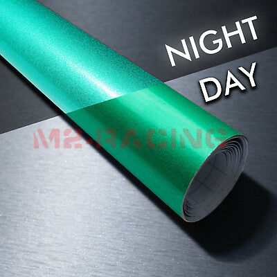"""4""""x8"""" Sample Reflective Green Vinyl Wrap Sticker Decal Graphic Sign Adhesive"""