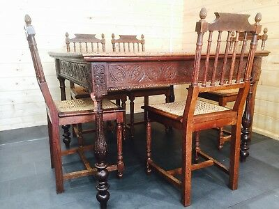 Edwardian/Victorian Oak Carved Dinning Table 5x Hand Carved Chairs