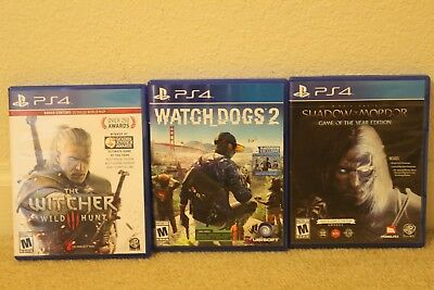 Watch Dogs 2, The Witcher 3 Wild Hunt, Shadow of Mordor Game of the Year edition