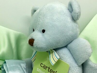 Carters Blue Teddy Bear & Rattle Lovey Security Blanket Snuggle Me With Tags