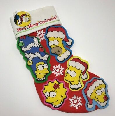 The Simpsons Merry Merry Christmas Stocking Homer Marge Bart Lisa Maggie 3D