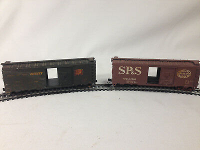 HO Scale FRP Boxcar Lot of 2 Vintage The Peanut Line TPL 1611 & 1619 Weathered!