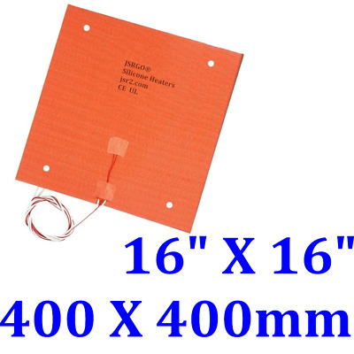 "16"" X16"" 400 X 400mm w/ 3M w/ 4 Holes 3D Printer Heated Bed Silicone Heating Pad"