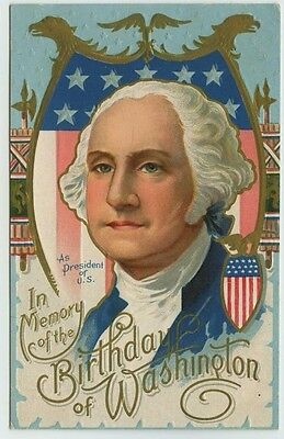 In Memory of the Birthday of Washington George as President of US Embossed PC