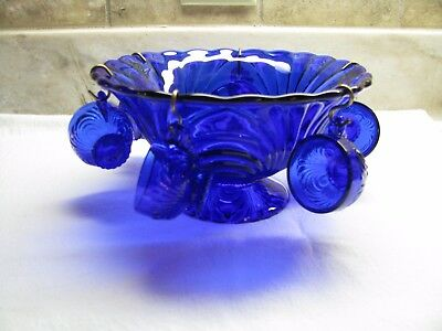 Gorgeous Cobalt Blue Child's Punch Bowl With 6 Cups - Swirl Pattern - Vintage