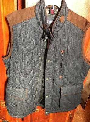 7048bc285e Daniel Cremieux Large Navy Blue Wool Tweed Winter Vest Quilted Mens Jacket