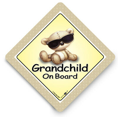 GRANDCHILD On Board Car Sign, SUNGLASSES ,Baby On Board Sign, Suction Cup Sign