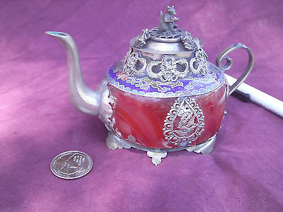 Antique  Chinese Sterling Silver Red Jade Pot  dragon frog squirrel Signed