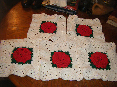 Lot of 5 Vintage Crochet Handmade Square DOILIES Raised Red ROSES