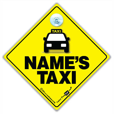 TAXI Car Sign, PERSONALISED Taxi Car Sign, Suction Cup Sign,Custom Taxi Car Sign
