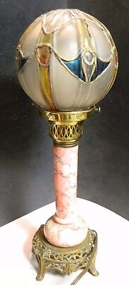 Vintage Art Deco Brass, Marble & Leaded Stained Glass Globe Table Lamp Excelllen