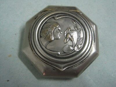 Antique small box art nouveau in silvered metal with a lady
