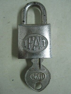 Antique small metal padlock FAM with key