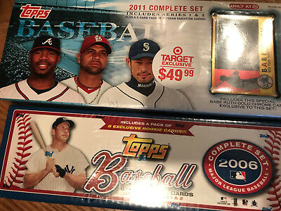 LOT of TWO Sealed Topps Baseball Complete Sets 2006 + 2011 Target Series 1 + 2