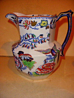 Large Antique Staffordshire Mason's Ironstone water Pitcher Birds Floral