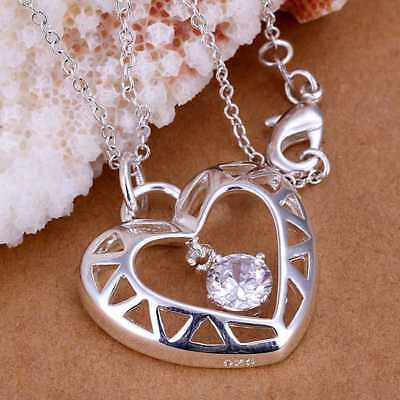 Hot 925Sterling Solid Silver Jewelry Crystal Heart Chain Pendant Necklace P116
