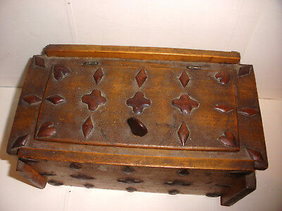 Unique antique circa 1860 folk art hand carved wood decorated playing cards box