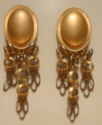 """Nordstrom Art Deco (Roaring 20s) Brass Plated Dangle  3 1/2"""" Long Clip On"""