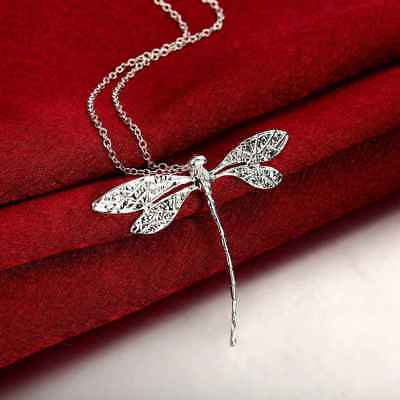 Fashion 925Sterling Solid Silver Jewelry Dragonfly Chain Pendant Necklace P076