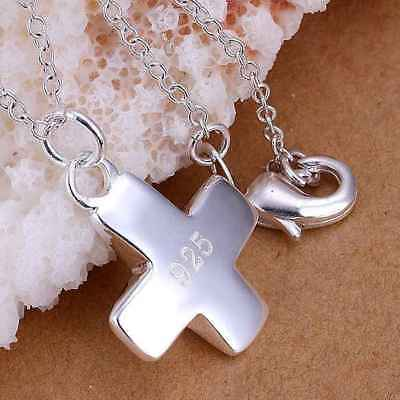 Fashion 925Sterling Solid Silver Jewelry Cross Chain Pendant Necklace P059