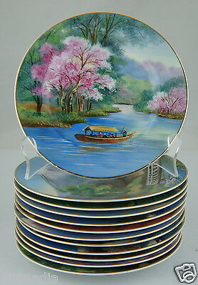 Vintage Small Plate Set 12 Hand Painted Scenic Blossom Japan Gold Rim Fine China