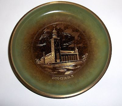 Vtg Ystad Brons Small Engraved Brass Decorative Plate Stockholm Sweden - Nice!