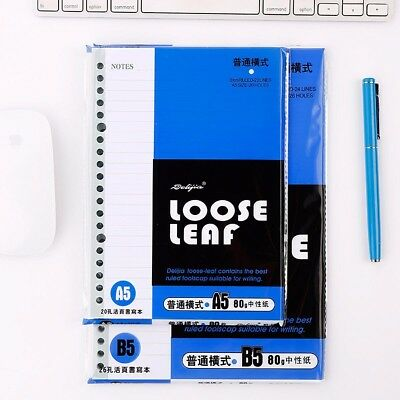 A5/B5 Loose Leaf Notebook Refill Insert Ruled Diary Journal 80 Sheet 20/26 Holes