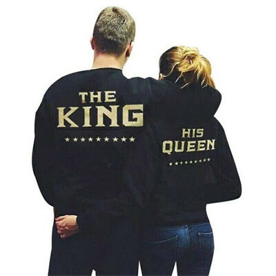 NEW King and Queen Print Couple Hoodie Sweatshirts Pullover Jumper Tops Blouse