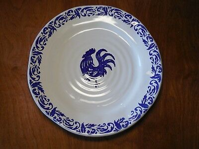 Bizzirri Italy BLUE ROOSTER Set of 3 Dinner Plates 11 3/8""