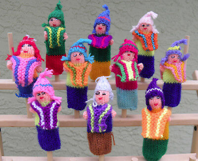 Brand New 10 knitted Finger Puppets From Peru Mix Of Traditional Dressed Inca