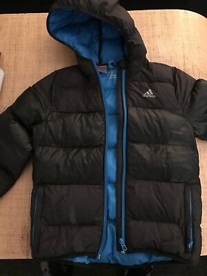 c21e841c3 ADIDAS BOYS HOODED Puffer Jacket - Black w/Royal Blue Zips Size XS - EUC