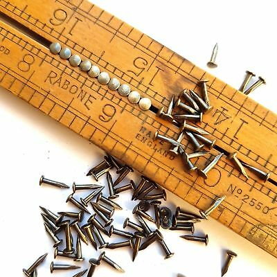 "3/8""(10mm) 200pcs Brass Patina Antique Vintage Escutcheon Pins Nails Brads Tacks"