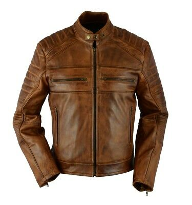 Men Vintage Distressed Brown Cafe racer biker genuine leather jacket US Stock