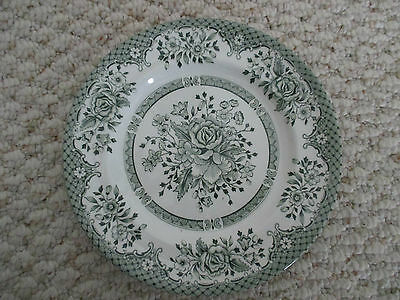 """Wood & Sons Green Rose Salad Plate About 8"""" England"""
