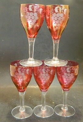 """Vintage Set of (5) Ruby Cut To Clear Grapes & Vines Wine Glasses 5.63"""" x 2.25"""""""