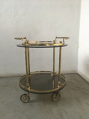 vintage barwagen teewagen servierwagen rund glas messing brass trolley table eur 180 00. Black Bedroom Furniture Sets. Home Design Ideas