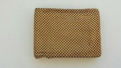 Vintage Whiting & Davis USA Gold Metal Mesh Men's Bi-fold Wallet VGC