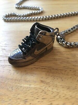 sterling silver Box Chain W/ Custom Made Nike SB Pendant RARE