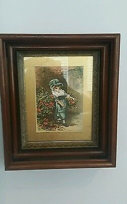 Antique Victorian Aesthetic Eastlake Style Deep Walnut Shadow Box Picture Frame