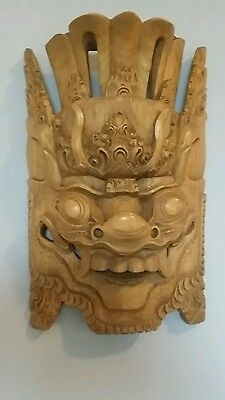 """Chinese Hand Carved Wood HEAD MASK Dragon - 13.5"""" x 8.25"""" - Blonde Wood"""