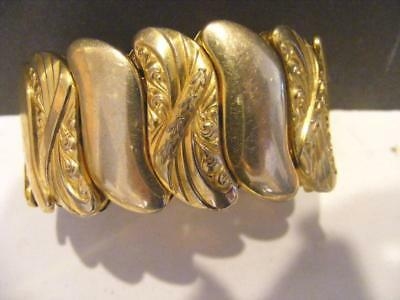 ANTIQUE Xtra WIDE Victorian Nouveau Expansion BRACELET Repousse Rolled Gold GF
