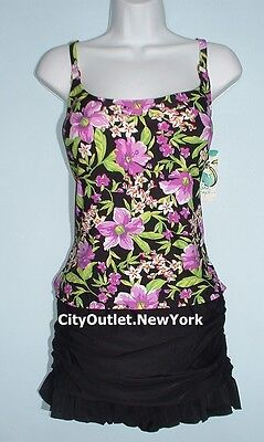 ISLAND ESCAPE Swimsuit 2-PC Size 14 Add a Size Cup Tankini Ruffles Skirt Set NWT