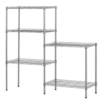 "60""x22""x12"" Heavy Duty 5Layer Wire Shelving Rack Adjustable Shelf Storage Silver"